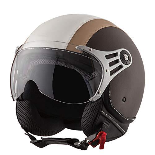 FANGJIA-Helmet Casco de Moto de Cara Abierta, Motocicleta de Turismo, Ciclomotor, Scooter, Piloto, Aventura con Visera, Casco de Moto Jet, Aprobado ECE/Dot