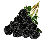DuHouse 10 rosas falsas flores de seda artificiales de imitación de rosas rosas para arreglos de boda, centro de mesa, fiesta, hogar, cocina, decoración (negro)