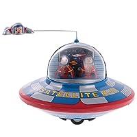 #N/A ヴィンテージ 時計仕掛け 子供 宇宙船 ブリキのおもちゃ 約14 * 11cm ブルー