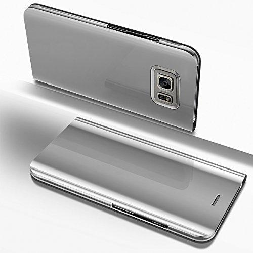 kompatibel mit Galaxy S6 Edge Plus Hülle,Überzug Spiegel Clear View PU Leder Tasche Schutzhülle Brieftasche Handyhülle Handytasche Flip Cover Wallet Tasche Cover für Galaxy S6 Edge Plus (Silber)