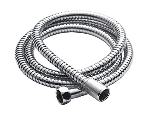 AceWay 2m Stainless Steel Chrome Shower Hose Pipe Universal Standard Fitting Leakproof High Pressure Resistance Anti Kink Plumbing Bathroom Easy DIY Replacement