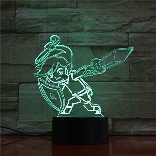 Sproud Little Warrior 16 Farbe Mit Remote Game Legend Nachtlicht Led 3D Illusion Action Figure Zimmer Dekorative Lampe Kind Kinder Baby Geschenk Schreibtischlampe Nachttischlampe