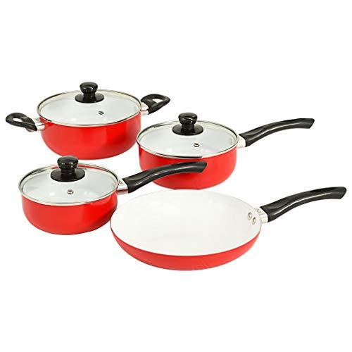 vidaXL Juego Sartenes Ollas 7 Piezas Revestimiento Cerámico Aluminio Utensilios Cocina Sartén + 2 Cazos + Cazuela + 3 Tapas Vidrio Batería Cocina Rojo