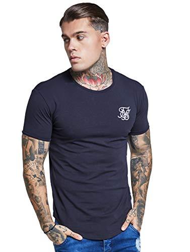 Sik Silk Hombre Hem curva Logo Gimnasio de la camiseta, Azul, Large