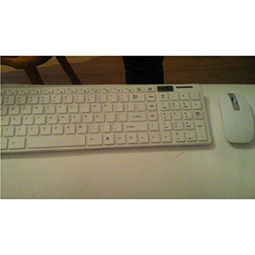 Draadloze toetsenbord en muis Set, 2.4G optische compacte muis, volledige grootte toetsenbord Combo met beschermhoes en USB-ontvanger Kit voor Computer PC Windows (wit)