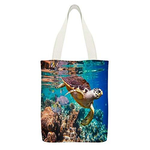 Bolsa de lona con diseño de carey tortuga de halcón, color blanco 18, reutilizable, para la compra de comestibles, bolsas de tela ecológicas, súper fuertes bolsas de hombro regalos