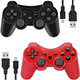 PS3 Controller Wireless for Playstation 3 Dual Shock (Black and Red)