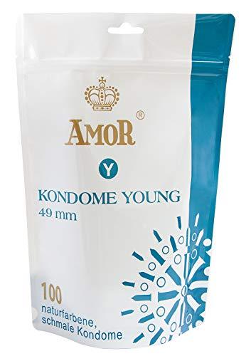 """AMOR\""""Young\"""" 100er Pack Markenkondome 49mm Durchmesser, für pures Gefühl, hauchzart und feucht"""