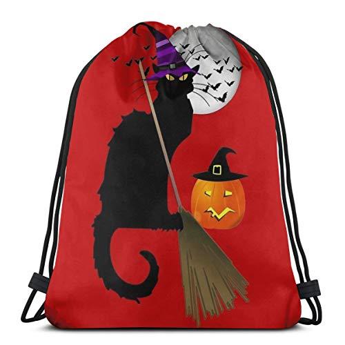 Halloween Le Chat Noir Heks Trekkoord Rugzak Tas Trekkoord Tas Sling Bag Sporttas, Geschikt voor School Gym Trip