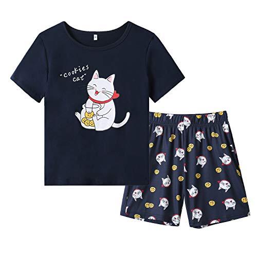 Vopmocld Big Girls' Lovely Cat Sleepwears Short Sleeve Summer PJS Cute Cartoon Pajama Sets, Cookie Cat, Medium / 8-10 Years