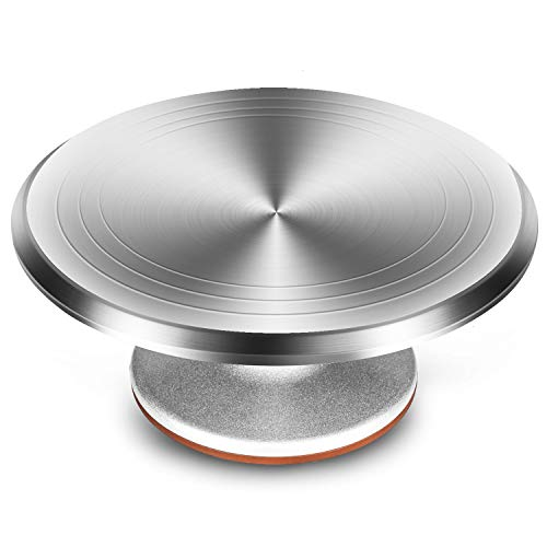 Gonioa 12 Inch Revolving Cake Turntable Aluminium Alloy Rotating Stand for Cake amp Cupcake Dessert Decorating Display Tool with Smooth Bearing and Nonslipping Bottom Baking Cake Decoration Supplies