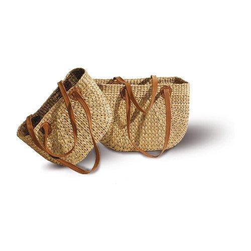 Neustanlo® Einkaufstasche/Einkaufskorb 1 STK, aus Wasserhyazinthe (Groß, Langer Henkel)