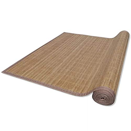 Festnight Teppich Bambus 160 x 230 cm Bambusteppich Wohnzimmerteppich Badezimmerteppich Bambusmatte Braun
