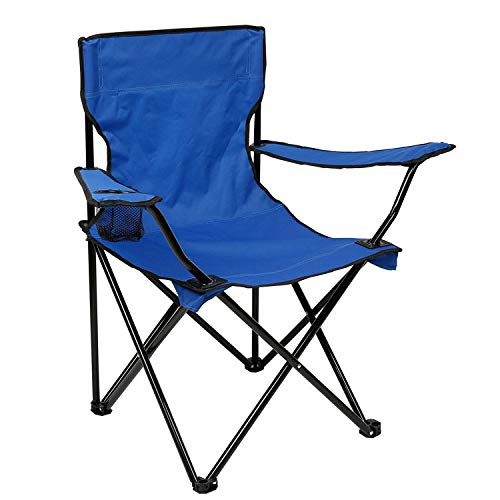 DIMAR GAEDEN Camping Folding Chair with Arm Rest Cup Holder, Outdoor Sports, Picnic, Hiking and Fishing, Portable and Durable, Heavy Duty Steel Frame Support (Sky Blue)