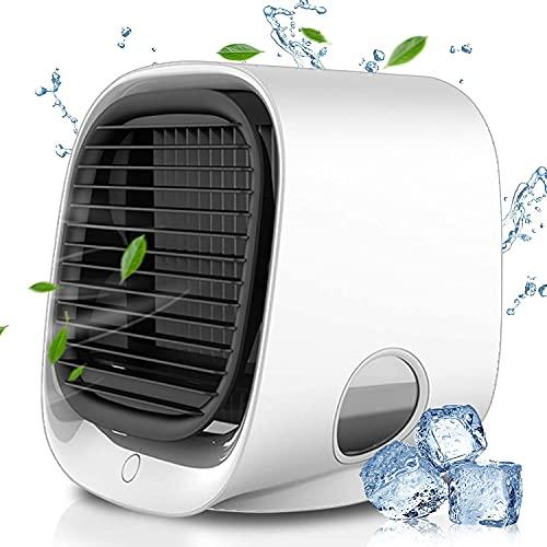 Lahuko Climatizzatore Condizionatore Portatile Raffreddatore d'Aria 4-in-1 Mini Air Cooler Raffreddatore Evaporativo Portatile con 3 velocità e 7 LED Colori, Adatto per Casa e Ufficio Stanza