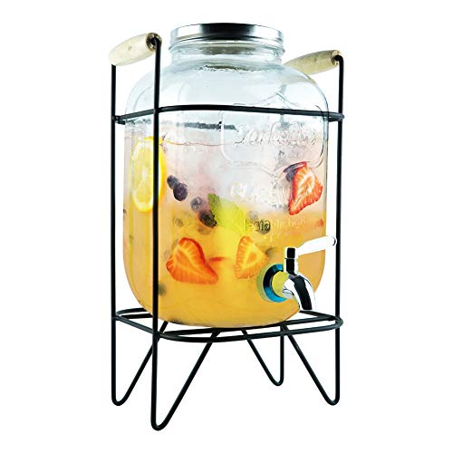 Comfecto 1 Gallon Dispenser High-Grade Durable Glass with Anti-Rusting 18/8 Stainless Steel Spigot and Lid for Cold Beverages Perfect for Indoor and Outdoor Use, Personal or Parties