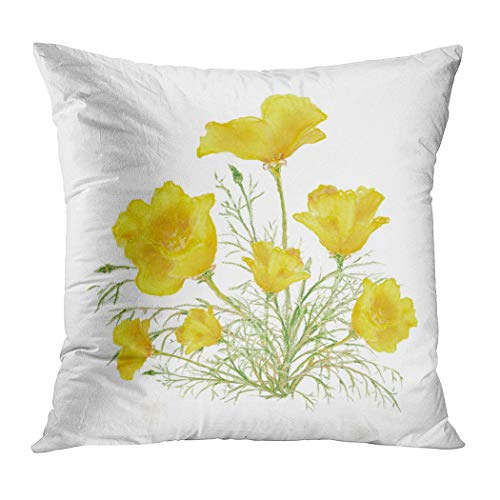 Suklly Fancy Green Yellow California Poppy Watercolor Painting Hidden Zipper Home Sofa Decorative Throw Pillow Cover Cushion Case 16x16 Inch Square Two Sides Design Polyester Printed Pillowcase