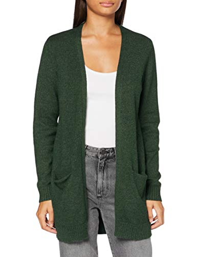 VILA CLOTHES Damen VIRIL L/S OPEN KNIT CARDIGAN-NOOS Strickjacke, Pine Grove/Detail:MELANGE, M