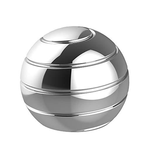 TRUEGOOD Kinetic Desk Toys,Full Body Optical Illusion Fidget Spinner Ball,Gifts for Men,Women,Kidsical Illusion Fidget Spinner Ball,Gifts for Men,Women,Kids, Gift for Christmas (Silver)