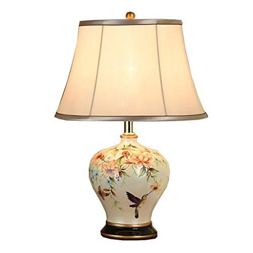 Im europäischen Stil Tischlampe Schlafzimmer Nachttischlampe kreative amerikanische Schreibtischlampe Einfaches Zimmer warmes Licht Keramik-Nachtlichter (Color : B-dimmer switch-33 * 51CM)