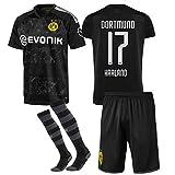255GTaw 2019-2020 Neue Saison(Zuhause und Weg) Borussia Dortmund Fussball Trikot & Shorts & Socken #17 Erling Haaland Fußball Trikot für Kinder Jugendliche Erwachsene