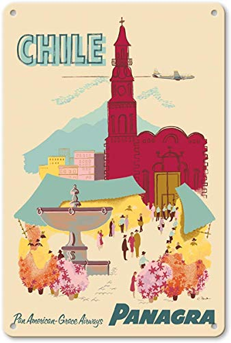 Chile - Plaza de Armas - Santiago - PANAGRA (Pan American Grace Airways) Metal Poster Wall Rust Free Aluminium Weatherproof Decor Home Wall Art Decor Retro Vintage Cartel de Chapa 12 x 8 in