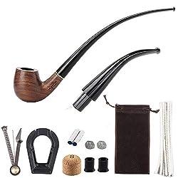 Ysislybin Tabakpfeife Holz Set, Tabak Pfeifen Set, Langstielige Birnenholz Pfeife mit Pfeifenreiniger, Pfeifenzubehör für Einsteiger und Fortgeschrittene