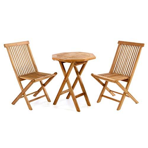 Divero 3 tlg. Balkonset Klappstuhl Tisch rund Ø 60cm Teakholz Garten-Set Sitzgarnitur