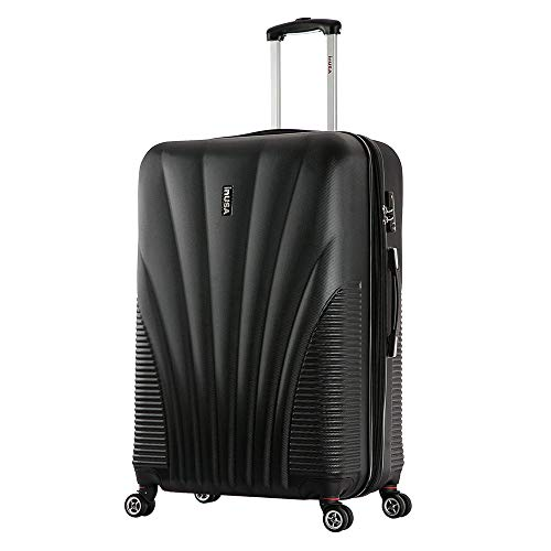 InUSA Chicago Hardside 25 Inch Medium Spinner Luggage with Ergonomic Handles, Travel Suitcase with Four Spinner Wheels and Studs, Black