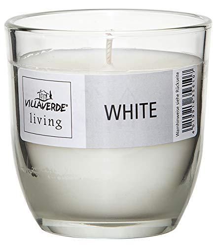 Smart Planet® kaarsen Ambiente White geurkaars in glas - witte glazen kaars windlicht in modern design met aangename milde geur kaars wit