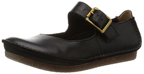 Clarks Janey June, Damen Knöchelriemchen Sandalen, Schwarz (Black Leather), 39.5 EU