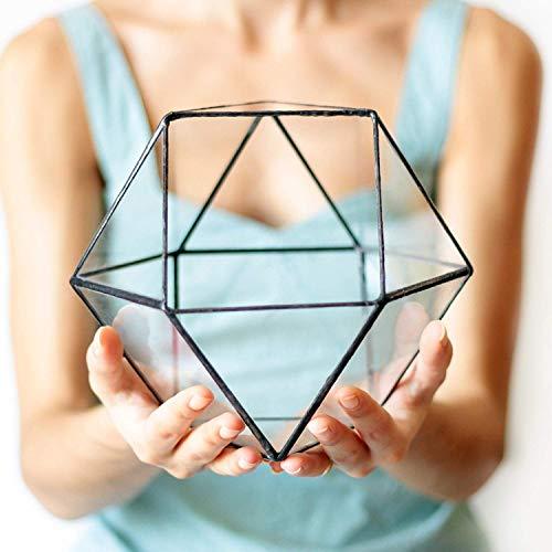 Waen Terrarium Collection Medium Glass Geometric Terrarium Container - Cuboctahedron (Copper, Silver, Black)