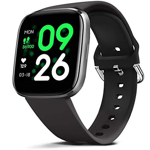 FITVII Smart Watch, Smartwatch with Heart Rate, Blood Pressure Monitor, IP68 Waterproof Fitness Tracker with Temperature, Sleep Tracking Compatible with iPhone Android for Women Men
