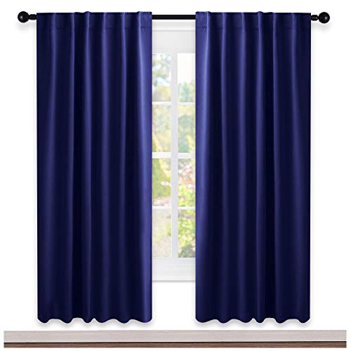 NICETOWN Blackout Curtain Blinds for Living Room - (Navy Blue Color) 52 inches Wide by 72 inches Long, 2 Panels Set, Insulated Room Darkening Window Drapes