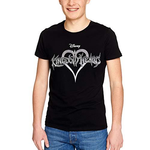 Disney Camiseta Kingdom Hearts Hombre Logo Algodón Negro - L