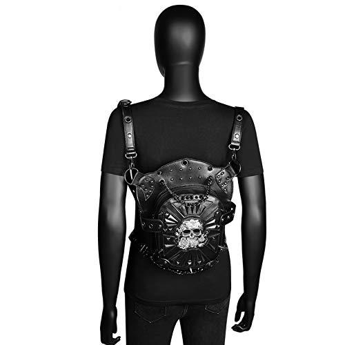 CVBGH Bolso De Cintura Al Aire Libre De La PU del Cráneo De Crossbody del Hombro Multifuncional Punk