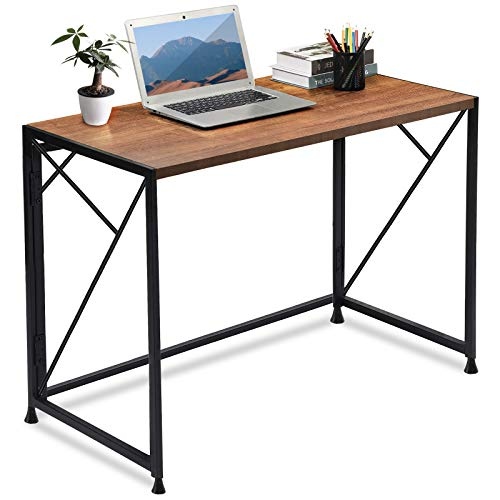 ComHoma Folding Desk Foldable Computer Desk 40' Home Office Desk Modern Simple Writing Desk Table Space Saving Collapsible Desk, No Assembly Required, Brown