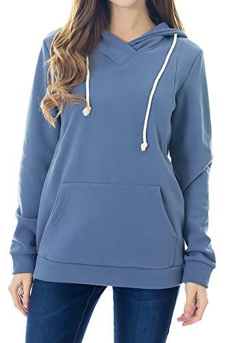 Smallshow Bluzy do karmienia z kapturem polarowa bluza ciążowa do karmienia piersią, Szary Niebieski, M