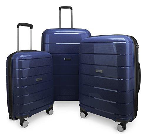 HAUPTSTADTKOFFER - Prnzlbrg - 3er Koffer-Set (S, M, L) Hartschalenkoffer Trolley Rollkoffer Reisekoffer, TSA, Dunkelblau
