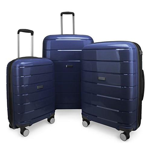 HAUPTSTADTKOFFER - PRNZLBRG - Set di 3 Trolley Valigie rigide e leggere con 4 ruote, espandibile, TSA (S, M & L), Volume totale 232 L, Blu Scuro