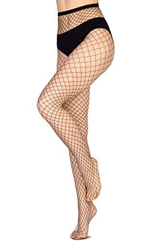 Annes styling Netzstrumpfhose Netzstrümpfe Diamant-Strumpfhose für Frauen Kreuzgeflecht Zaun Gr. TG-1/2, Angelina Nero