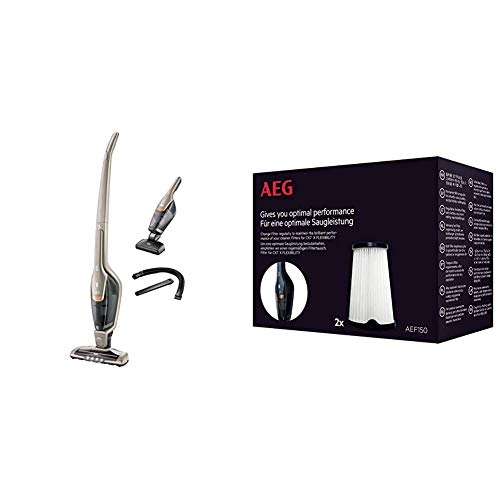 AEG Ergorapido CX7-2-S360 Animal beutel- und kabelloser 2in1 Akku-Handstaubsauger (inkl. zusätzlicher Elektrosaugbürste und Zubehör, bis zu 45 Minuten Laufzeit) & AEF150 Austauschfilter, 2 Stück