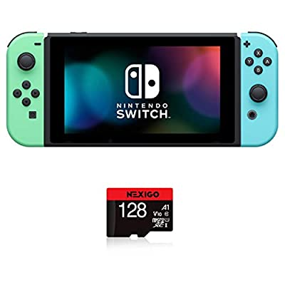 "Nintendo Switch with Green and Blue Joy-Con - Animal Crossing: New Horizons Edition - 6.2"" Touchscreen LCD Display, 802.11AC WiFi, Bluetooth 4.1 + NexiGo 128GB MicroSD Card Holiday Bundle from Nintendo"