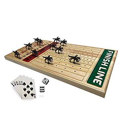 FINENI Horse Racing Board Game with Luxurious Durable Metal Horses, 11 Pieces, Black Metal Horses, Real Pine Wood Horseracing Game Board, Dice and Cards