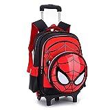 GoodChild Zaino da Viaggio con Rotelle Zaino da Scuola Elementare Stampato Spiderman Zaino da Viaggio per Bambini Borsa da Viaggio con Ruote Primaria Black - 6 Wheels