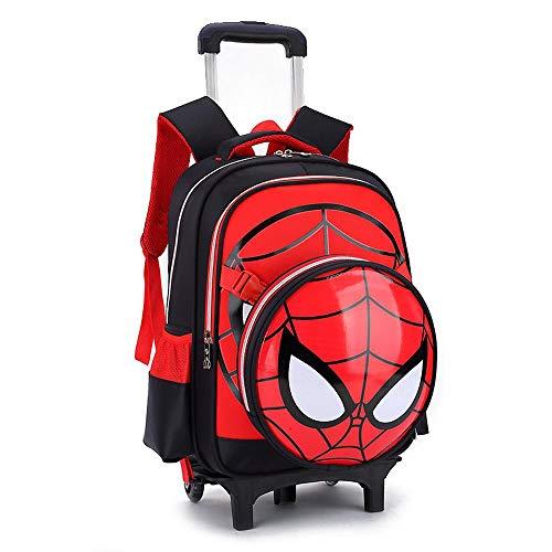 Spiderman Imprimé Trolley Sac À Dos Enfants D'école Roulant Sac Primaire À roulettes Livre Sac pour 6-12 Vieux Élémentaire Garçons,Black-2 Wheels