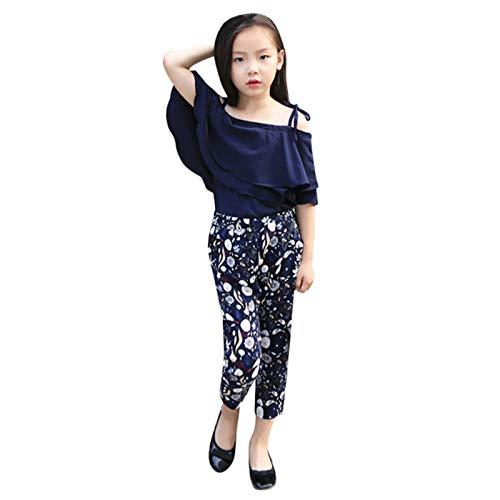 Conjunto de roupas infantis para meninas com ombros de fora + calça floral de verão 3 a 12 anos