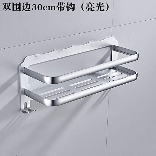 Vuist vrijstaand badkamerrek van aluminium badkamerrek keuken 30 cm dubbelwandig met haak (licht)