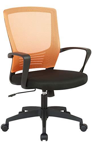 CLP Bürostuhl Kampen Mit Netzbezug | Höhenverstellbarer Drehstuhl Mit Laufrollen Und Armlehnen, Farbe:schwarz/orange