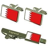 Select Gifts Bahrain Fahne Manschettenknöpfe gravierte Krawattenklammer passende Box Set